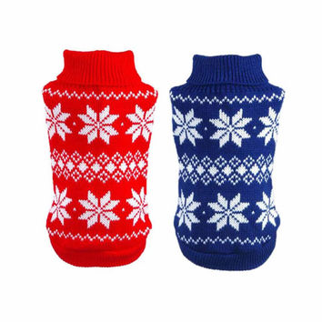 New Qualified Dog Clothes Pet Winter Woolen Sweater Knitwear Puppy Clothing Warm Snowflake High Collar Coat dig6225