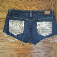 Studded Front and Back Pocket  Shorts