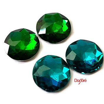 Pack of 30 Faceted Flatback Resin Cabochons. 12mm Diameter. Different Colours Available. Imitation Emerald Embellishments for Cufflinks