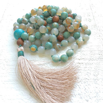 Turquoise Agate Knotted Mala Beads, Silk Tassel Mala Necklace, Aqua Blue And Sandalwood Mala, 108 Bead Stone Mala, Yoga Meditation Beads