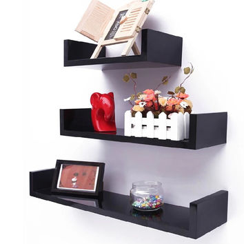 Homdox MDF Wall Hanging Shelf Books Clocks Neat Rack Home Living Room Wall Shelves Decorative Wall Shelf