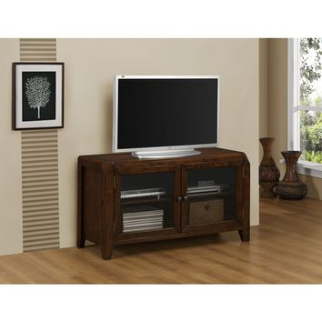"Distressed Brown Oak Veneer Glass Doors 48"" TV Console Stand"