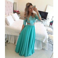 Emerald Green Ball Gowns Lace See Through Long Sleeve Sexy Prom Dresses 2015 Vestido De Festa Online with $96.6/Piece on Marryme1's Store | DHgate.com