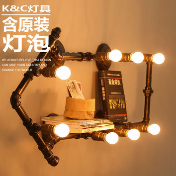 [Kc] Loft Pipe Wall Lamp Personality Retro Industrial Study Clothing Store Decoration Lamp Wall Lamp