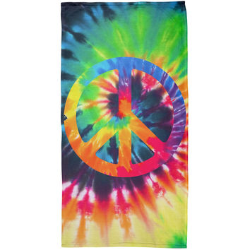 Peace Sign Tie Dye All Over Plush Beach Towel