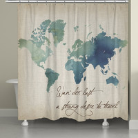 Watercolor Wanderlust Shower Curtain