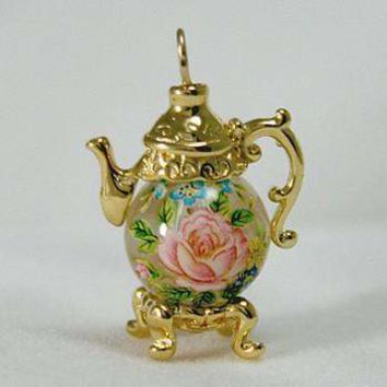 Gold Vermeille Rose on Clear Bead Teapot Earrings