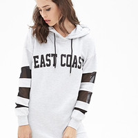 FOREVER 21 Mesh-Paneled East Coast Hoodie Heather Grey/Black