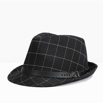 FEDORA HAT Lattice Cotton Men Large Brim Cap Winter Fall Fedoras Floppy Male Jazz Hat