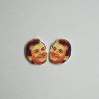 Bill Murray Face Stud Earrings Fun Novelty Gag Gift Post Earrings or Clip-On Earrings