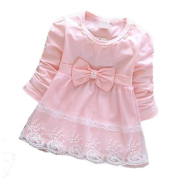 Pink dress newborn sweet princess soft infant new long sleeve lace bow cute baby kids for girls 2016 spring hot sale fashion