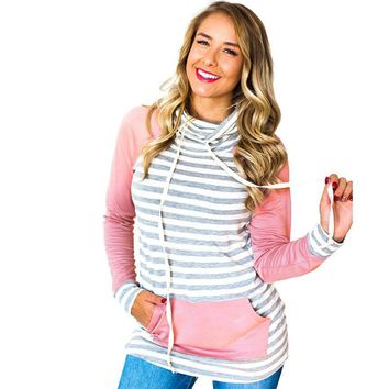 Hoodies Women 2019 Autumn Striped Pocket Hoodie Long Sleeve With Elbow Patch Pullover Casual Drawstring Sweatshirt Sudaderas XL
