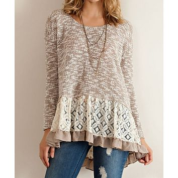 Cut and Sew Lightweight Sweater Tunic with Ruffle Hem in Mocha