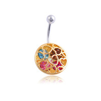 Korean Hot Sale Diamonds Heart Hollow Out Luxury Belly Ring [6768794887]