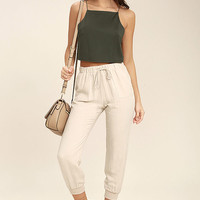 Share My Lair Olive Green Crop Top