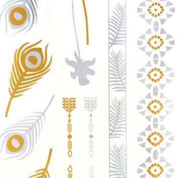 Metallic Feather & Band Temporary Tattoos