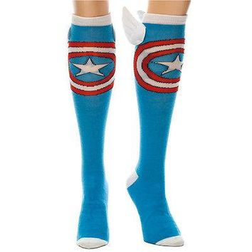 Captain America Costume Cosplay Long Knee High Boot Socks with Wings OFFICIAL