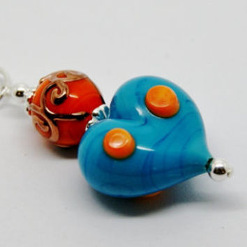 Turquoise and Orange Lampwork Glass Heart Pendant on a Sterling Silver Belcher Chain