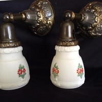 Antique Pair Original Victorian Brass and Bronze Wall Sconces Hand Painted Shades 1920s
