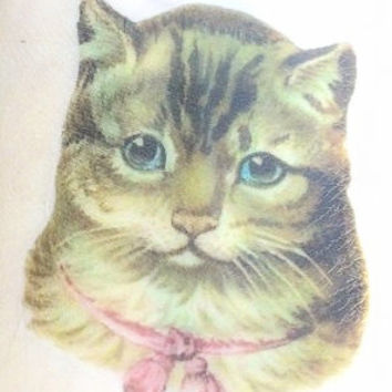 Cat Tattoo - Temporary Tattoo - Vintage Cat - Kitty Cat Tat - Cat Lady Gift - Cat Face