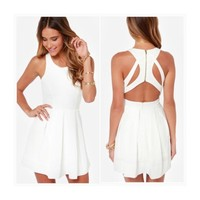 • White Cutout Back Dress •