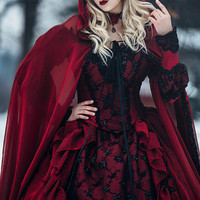 In Stock!  Gothic Sleeping Beauty Red and Black Sparkle Fantasy Set with Cape size Large