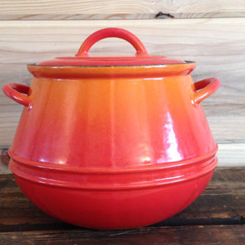 Descoware Belgium Bean Pot Soup Pot Orange Flame Grey Glissemaille Interior with Lid