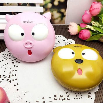 Pig Colored Contact Lenses  box Case for eye women cute contact lenses case Eyeglass Case box Holder Container L8066