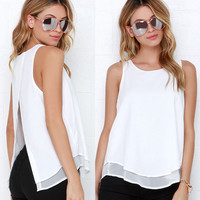 White Round-neck Sleeveless Split Chiffon Tops [6343456257]