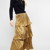 Cayla Gold Shimmer Tiered Ruffle Midi Skirt