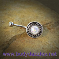 White Glitter Opal Belly Button Ring Surgical Stainless Steel 14ga Navel Ring