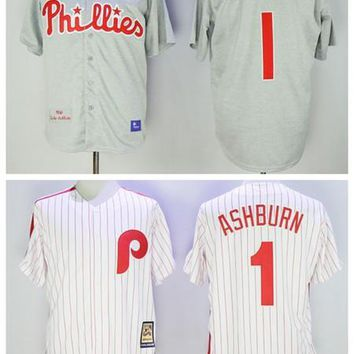 Philadelphia Phillies 1 Richie Ashburn Jersey Mens 1950 Cooperstown Cream Red Authentic Phillies Throwback Baseball Jersey White Grey
