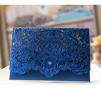 Royal Blue Pink Red Gold Laser Cut Wedding Invitations 50pcs Party Decoration Vintage Wedding Cards Invitation 2017