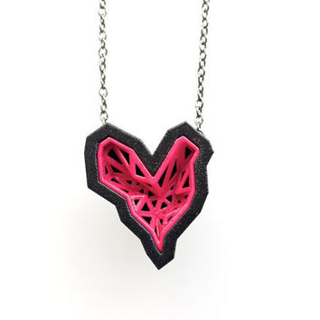 heart geometric pendant - Rock Heart Pendant in Pink Sapphire and Black. 3d printed. modern jewelry. valentines day
