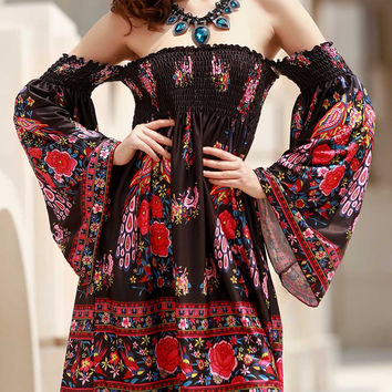 Bohemian Off-The-Shoulder Long Sleeve Floral Print Dress