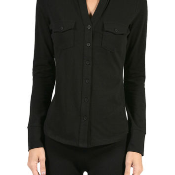 Long-Sleeve, 2-Pocket, Button-Down Stretch Shirt