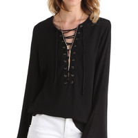 LACE IT UP BELL SLEEVE TOP