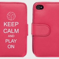 Pink Apple iPhone 4 4S 4G LP591 Leather Wallet Case Cover Keep Calm and Play On Volleyball