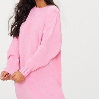 Pink Oversized Knitted Jumper Dress
