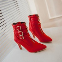 High Heels Ankle Boots Pointed Toe Buckle
