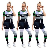 Champion Fashion New Summer Letter Print Contrast Color Sports Leisure Top And Pants Two Piece Suit Women