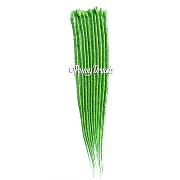 Lime Green Single Ended Synthetic Dreadlock Extensions 20""