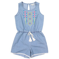 Self Esteem Girls' Embroidered Denim Romper