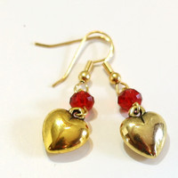 Red and Gold Crystal Bead and Heart Charm Fashion Earrings for any occasion especially valentine's day - Christmas Sale