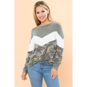 PREORDER:Never Hide Camo Color Block Top(S-XL)