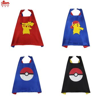 SPECIAL L 27* Pikachu Pokemon Costume Cape Mask Anime Character Pikachu Birthday Party Cartoon Cosplay Toys Red Christmas Cape