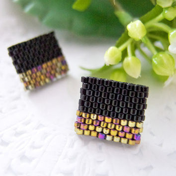 Black Gold Beaded Color Block Square Geometric Ear Studs by JeannieRichard