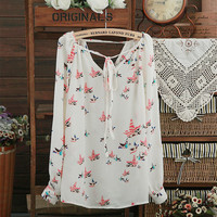 Pigeon Drawstring Long Sleeve Chiffon Blouse