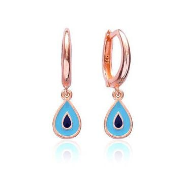 Gold Turquoise ,Navy Blue Drop Earring Hoop Dangle Over 925 Sterling Silver