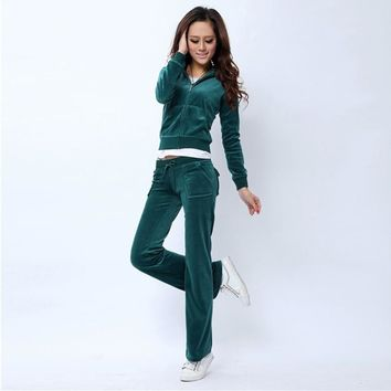 Juicy Couture Pure Color Velour Tracksuit 6047 2pcs Women Suits Teal